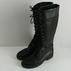 TIMBERLAND TALL BLACK LACE UP BOOTS SIZE 7.5